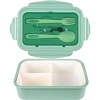MEIXI Fiambrera Compartimentos, Fiambrera Infantil, Caja de Bento con 3 Compartimentos y Cubiertos, Fiambreras Caja de…
