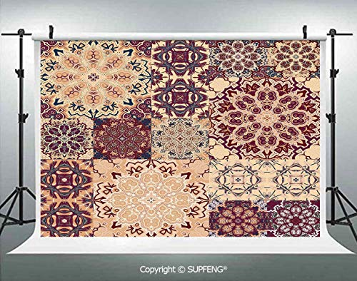 Photography Background Antique Traditional Ceramic Tiles Ornate Moroccan Arabesque Print Decorative 3D Backdrops for Photography Backdrop Photo Background Studio Prop
