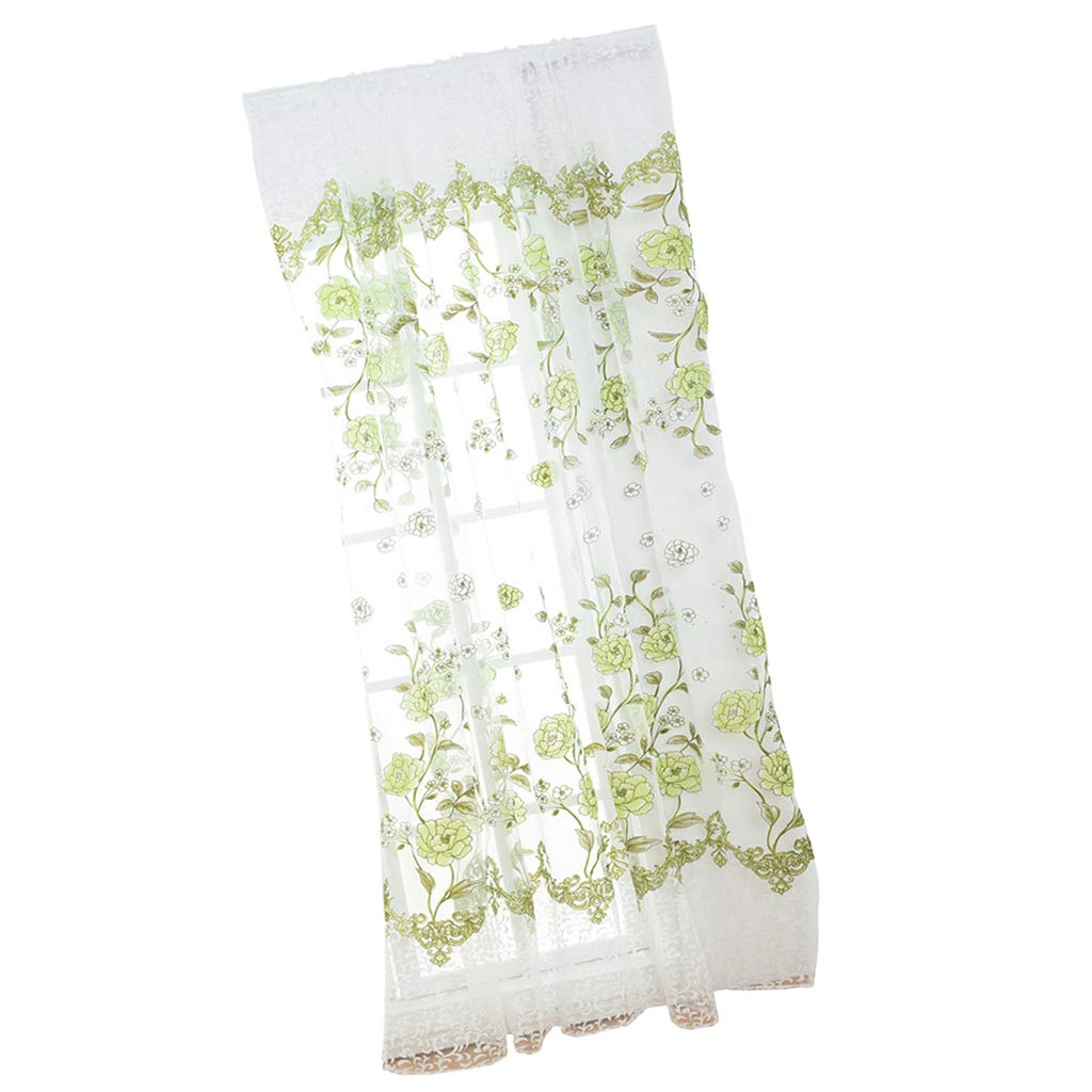 100x200cm Voile Curtain Panel Offset Printed Peony Net Curtain 100x270cm