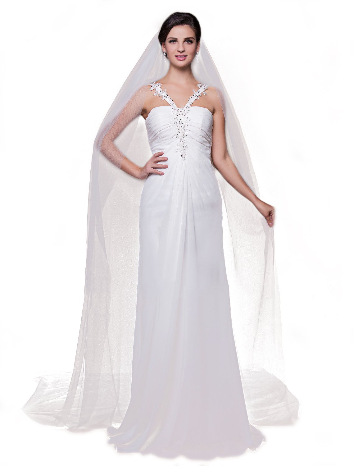 Barogirl 2 Tier Wedding Veil Cathedral Length Bridal Veil with Comb (White)