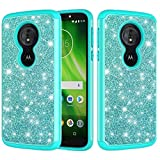 Glitter Case for Moto G6 Play,QFFUN Soft Silicone + Hard Plastic Hybrid Dual Layer 2 in 1 Bling Shiny Phone Cases Shockproof Anti-Scratch Protective Back Cover with Screen Protector - Green