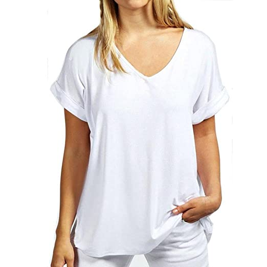 T Shirts For Womens, FORUU Casual Solid V Neck Summer Comfort Blouses Tops Tees