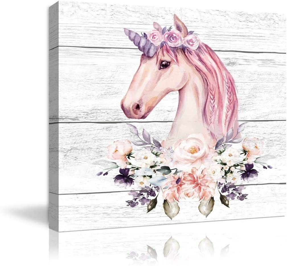 Pink Little Unicorn Wall Art for Girls Bedroom Print Bathroom Pictures Modern Home Nursery Wall Decor Canvas Framed Wall Art for Bedroom Artwork for Walls Unicorn Theme Wall Decoration Size 14x14