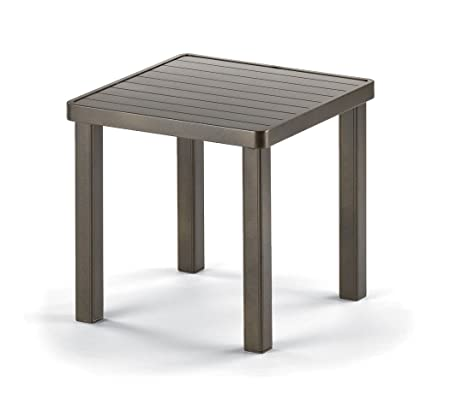 Telescope Casual Square Aluminum Slat End Table, 18-Inch, Textured Aged Bronze Frame Finish