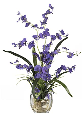 nearly natural 1119pp dancing lady orchid liquid illusion silk flower arrangement purple