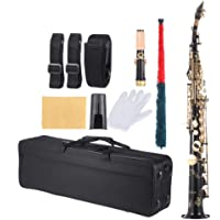 Docooler ammoon Brass Straight Soprano Sax Saxophone Bb B Flat Woodwind Instrument Natural Shell Key Carve Pattern with Carrying Case Gloves Cleaning Cloth Straps Cleaning Rod
