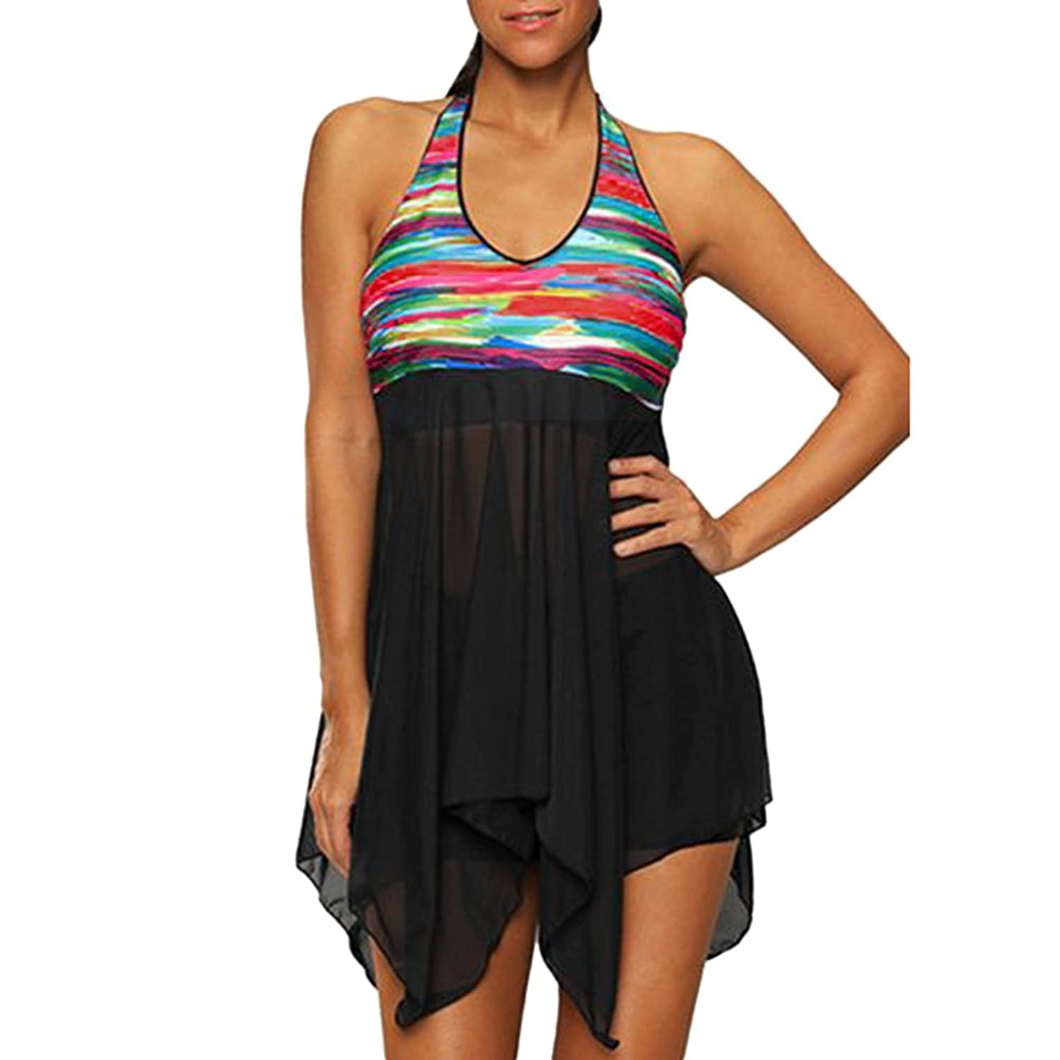 7897f05215 Unique Halter Neck Swimdress With Colorful Print Design,Asymmetric Hem,Open  Back Padded Tankini Top Swimsuit Set For Your Summer Beachwear