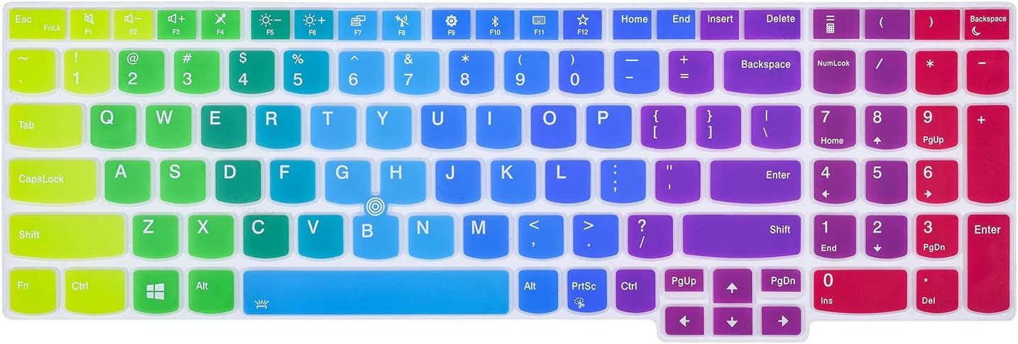 """Colorful Keyboard Cover for 15.6"""" Lenovo ThinkPad E15 T15 T15p L15 P51s P52 P52s P53 P72 P73/ThinkPad E580 E590 E595 L580 L590/ThinkPad T570 T575 T580 T590(NOT for P51 T560 T550), Rainbow"""