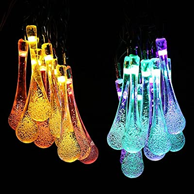 Solar Outdoor String Lights, Icicle 15.7ft 8 Light Modes 20 LED Water Drop Fairy String Lighting for Garden Decorations, Fence, Patio, Christmas, Wedding, Party, Home and Holiday