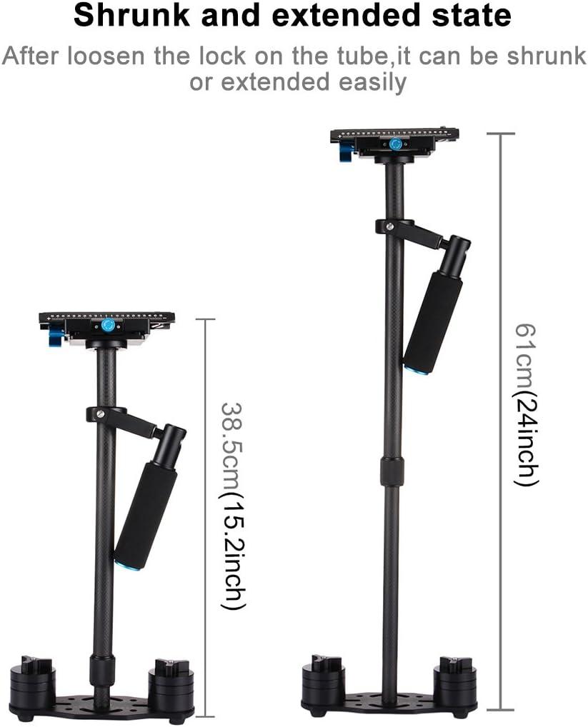PULUZ 24 60cm Professional Carbon Fibre Video Stabilizing Support for Canon Nikon Sony Panasonic /& Other Digital SLR Cameras Max Load:3kg// 6.6lb DSLR Handheld Stabilizer