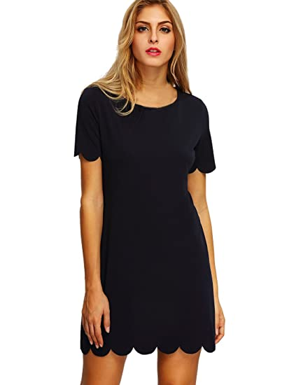 Romwe Women S Short Sleeve Casual A Line Mini Party Dress Black M At