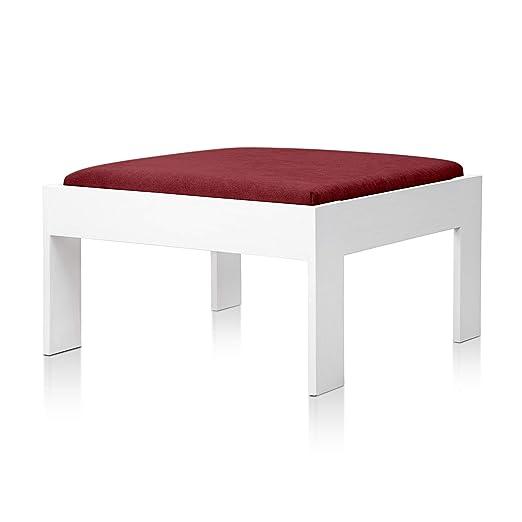 SUENOSZZZ - Sofa Jardin de Madera de Pino Color Blanco, MEDITERRANEO Mod. chaiselonge, Sillon cojín Tela Color Rojo. Muebles Jardin Exterior. Silla ...