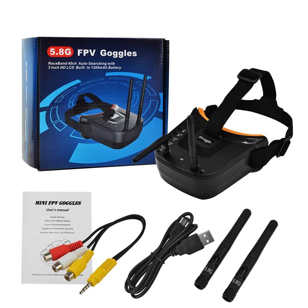XZANTE Mini FPV Gafas de Protecci/ón 3 Pulgadas 480X320 Exhibici/ón de Recepci/ón de Doble Antena 5.8G 40Ch con Bater/ía para RC FPV Racing Drone Quadcopter