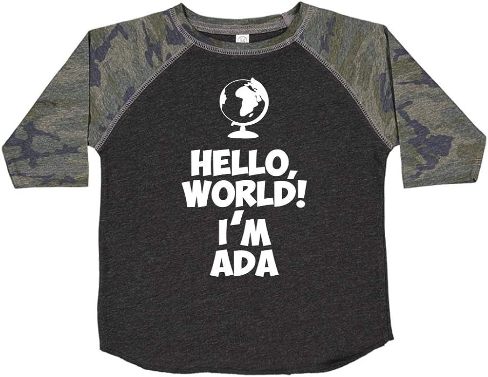 Mashed Clothing Hello Im Ada Personalized Name Toddler//Kids Raglan T-Shirt World