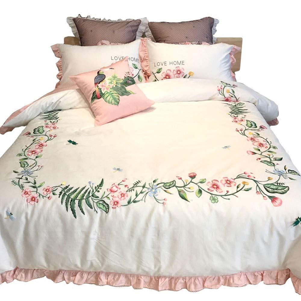 TONGSH エレガントな花柄の羽毛布団カバー、牧歌的な刺繍の立体的なレースのキルトカバー寝具クイーンセットのプリンセススタイルのピンクの4ピースセットロングステープルコットン4ピースセット (色 : Six-piece, サイズ さいず : 220x240cm) B07QJBTK25