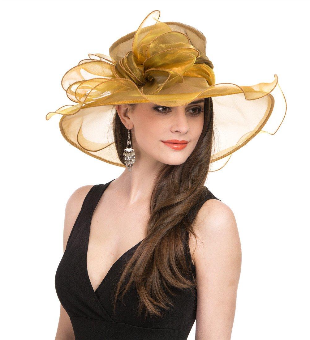 SAFERIN Women Wedding Dress Kentucky Derby Church Dress Organza Hat Wide Brim Flat Hat with Ruffled Bow Gold by SAFERIN (Image #3)