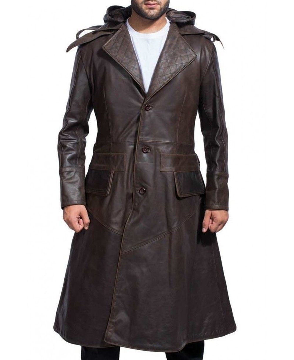 Premium Leather Products Jacob Frye Real Leather Long Coat Brown Long Trench Hoodie Coat With Detachable Hood Men (X-Large)