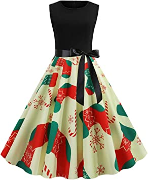 Amazon.com: Charmsamx - Vestido vintage de Navidad para ...