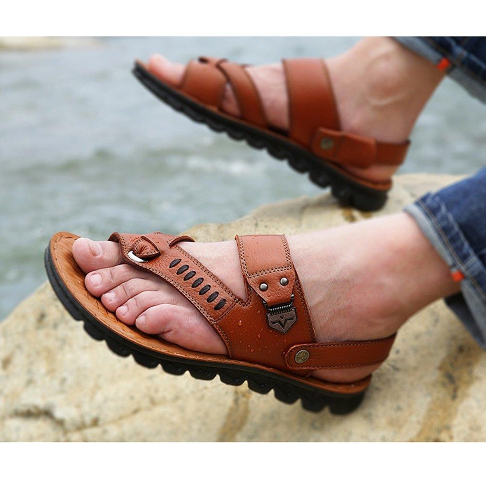 YQQ Mann Strand Schuhe Hausschuhe Für Herren Lässige Schuhe Männliche Weicher Sandalen Massage-Einlegesohle Sommer- Leder Weicher Männliche Boden Rutschfest Gemütlich (Farbe : Braun, größe : EU39/UK6) Gelb b44acb