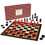 Ridley's Classic 2-in-1 57-Piece Chess & Checkers Folding Family Board Game, Ages 8+