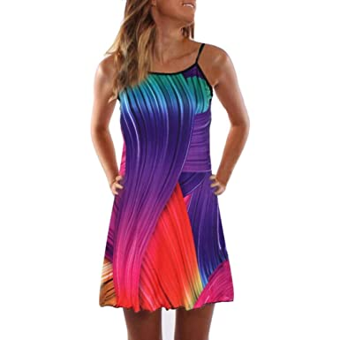 d0df7c4fa0d8 Women Loose Summer Vintage Sleeveless 3D Floral Print Bohe Tank Short Mini  Dress