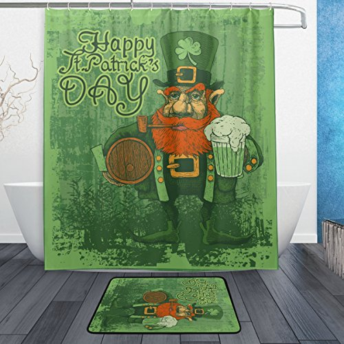 ALAZA Set of 2 Retro Happy Saint Patricks Day 60 X 72 Inches Shower Curtain and Mat Set, Vintage Style Lucky Clover Waterproof Fabric Bathroom Curtain and Rug Set with Hooks