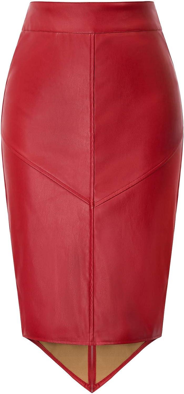 GRACE KARIN Falda Mujer Cintura Alta Falda Tubo Cuero Elegante Casual Color sólido