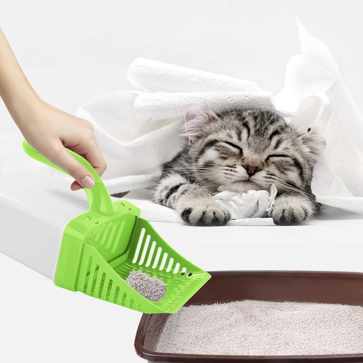 Dr.Cheol Cat Litter Shovel Scoop Plastic with Stand,Cat Litter Shovel with Bin,Litter Scooper for Cats with Stand