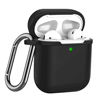 LEWOTE Airpods Silicone Case Cover Compatible for Airpods 1&2 [2016&2019  Version][LED Visible][Support Wireless Charging] (Black)