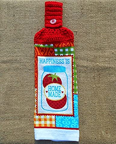 Happiness Is Home Made Hanging Dish Towel Double Sided with a Crochet Top, Kitchen Decor - Homemade Crochet