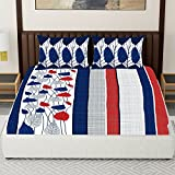 Spaces Expressions 144 TC Cotton Double Bedsheet with 2 Pillow Covers - Striped, Navy