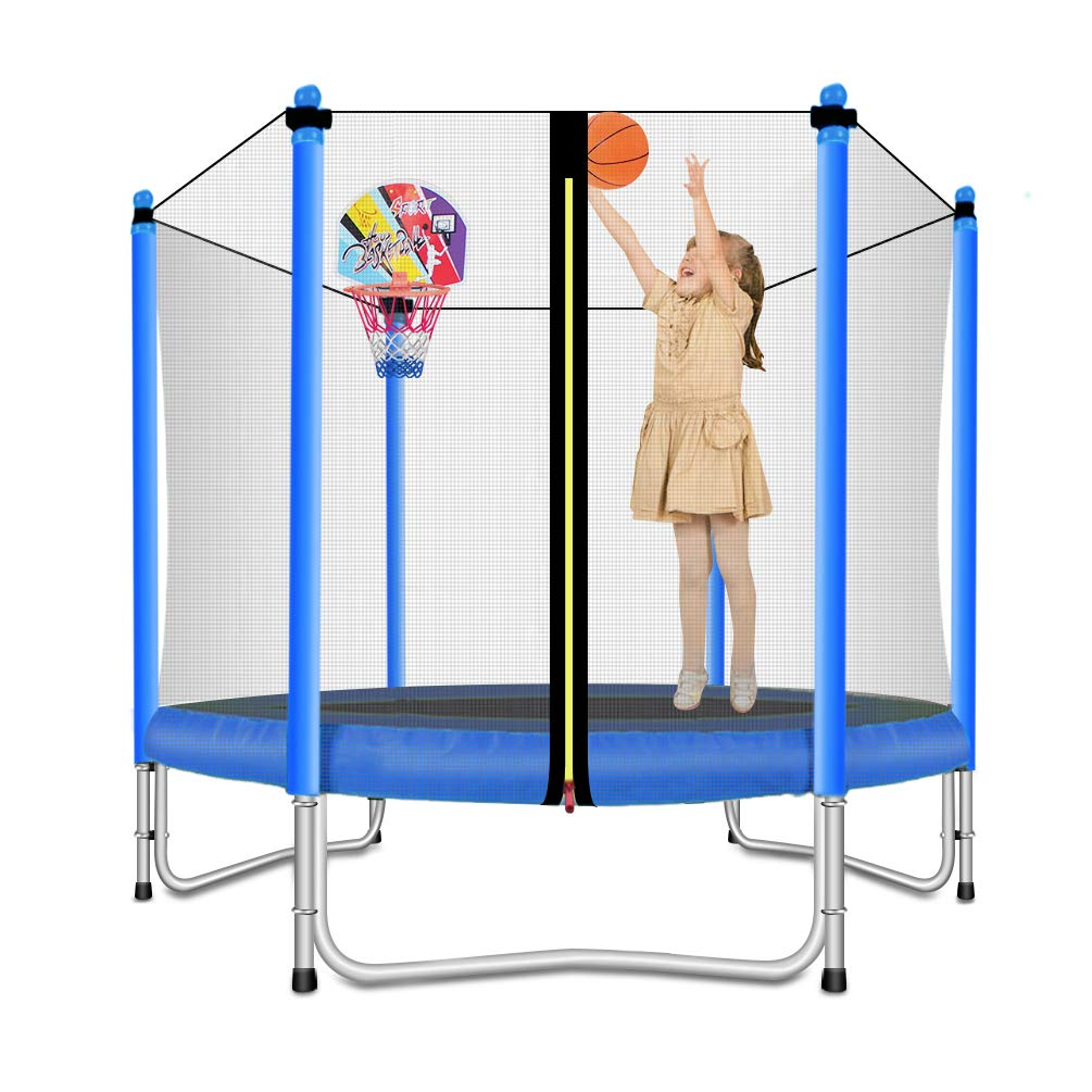 Lovely Snail Trampoline with Basketball Hoop-Trampoline for Kids-Blue-5 Feet by Lovely Snail (Image #1)