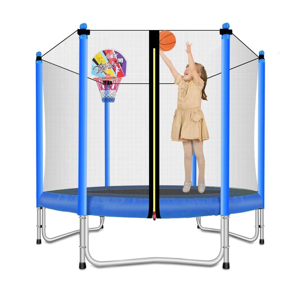 Lovely Snail Trampoline with Basketball Hoop-Trampoline for Kids-Blue-5 Feet
