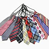 PET SHOW Large Pet Boys Dog Elastic Neck Ties Neckties Collars for Wedding Party Grooming Accessories Printed Color Assorted Pack of 100