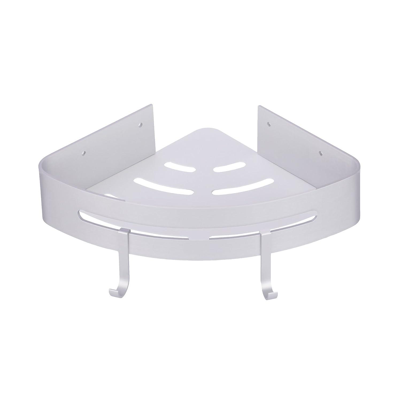 YEEMIGO Corner Shelf Bathroom Shelf Shower Caddy with Two Hooks,No Drilling with Glue or Wall Mount with Screws,Heavy Duty Aluminum,Black YL0005/_B