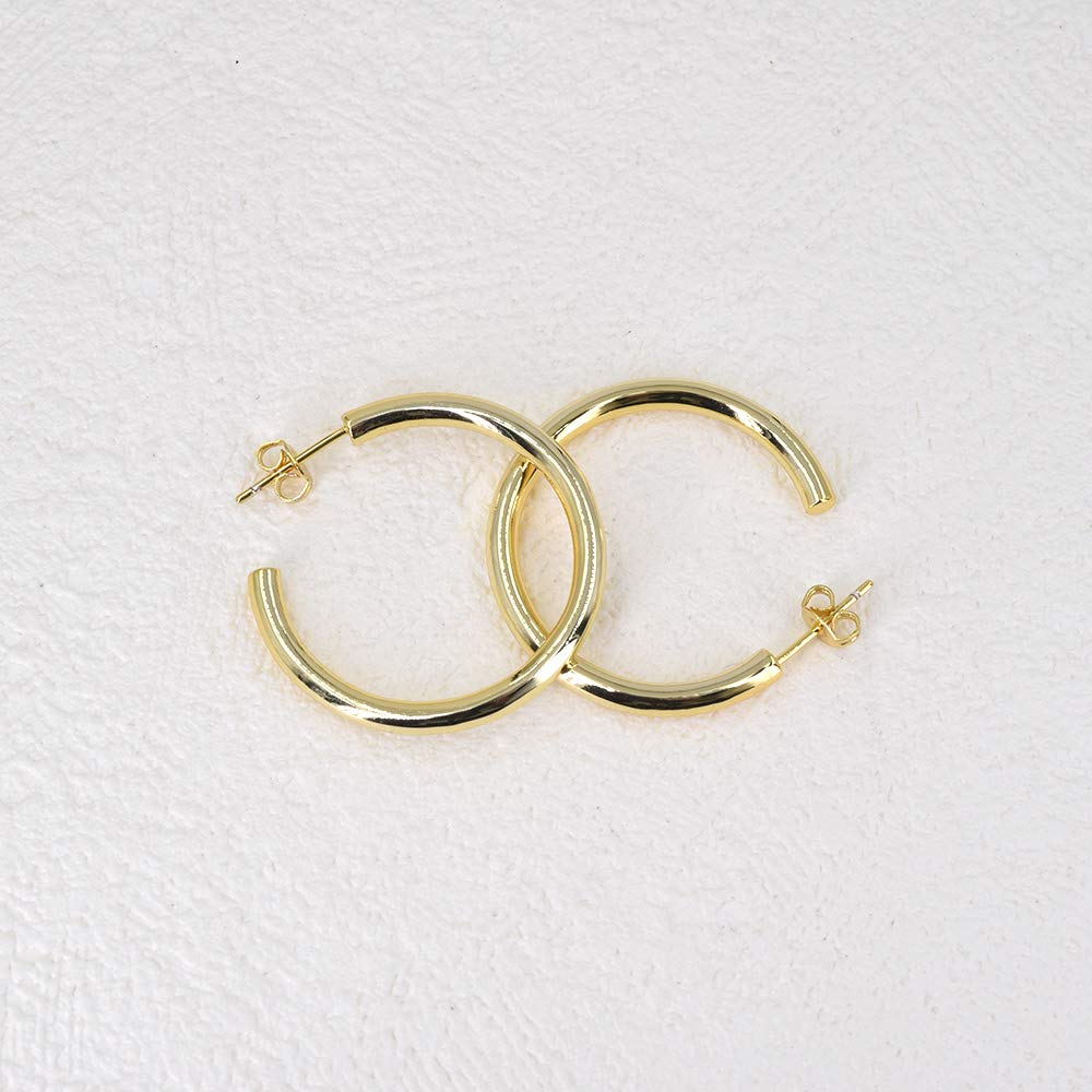 3mm Gold Tube Hoops 3 Sizes