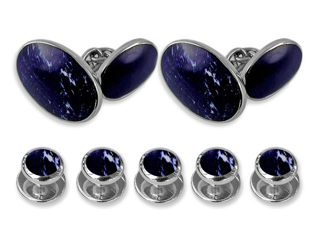 Sterling silver lapis double-sided Cufflinks Shirt Dress Studs Gift Set