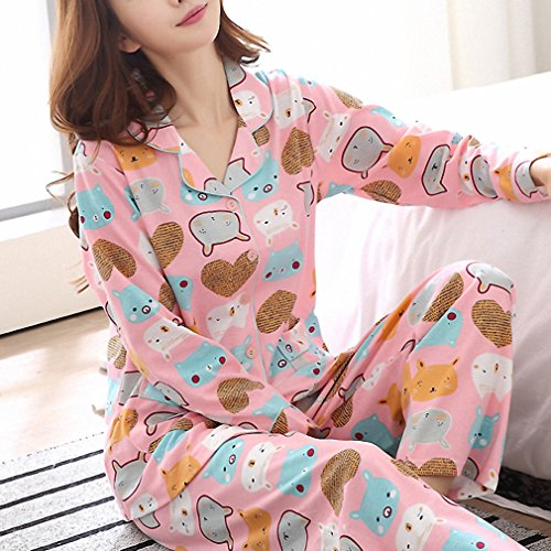 100% cotton solid color Winter pajamas sets for women keep warm pyjama couple long-sleeved homewear pijama de mujer New anmeng6894 XXL at Amazon Womens ...
