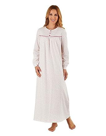Slenderella ND8103 Women s Pink Heart Motif Long Sleeve Cotton Nightdress  Night Gown 10 12 8ab27bba1