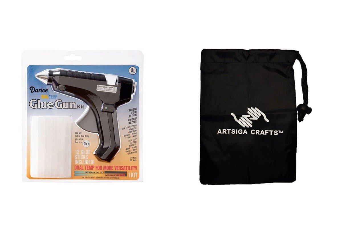 Darice Glue Gun Dual Temp Kit Gun w/Nozzle Cover 12 Sticks (6 Pack) 30015151 bundled with 1 Artsiga Crafts Small Bag