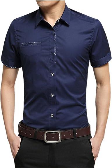Camisa de Vestir de Hombre Camisas de Manga Corta de Vuelta M-5XL: Amazon.es: Ropa y accesorios