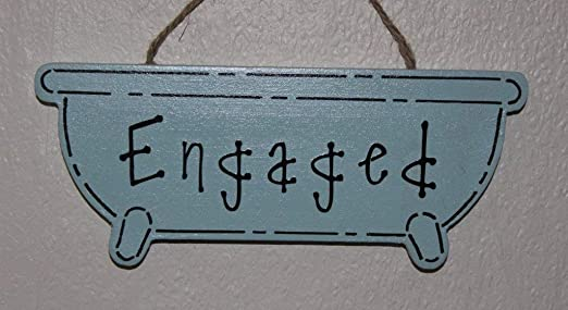 Decorative Hand-crafted Plaque ENGAGED//VACANT Door//Room Sign Jaded Teal