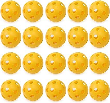 20 x Amarilla Bola Pelota Perforada Hueco de Práctica para ...