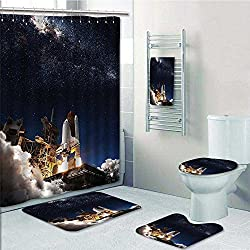 vanfanhome 5-Piece Bath Set Hotel Collection with Bath Rug, Shower Curtain, and Bath Towel,Space Shuttle Take off Discovery Missi to Explore Galaxy Spaceship Solar Adventure Decorate the bathroom
