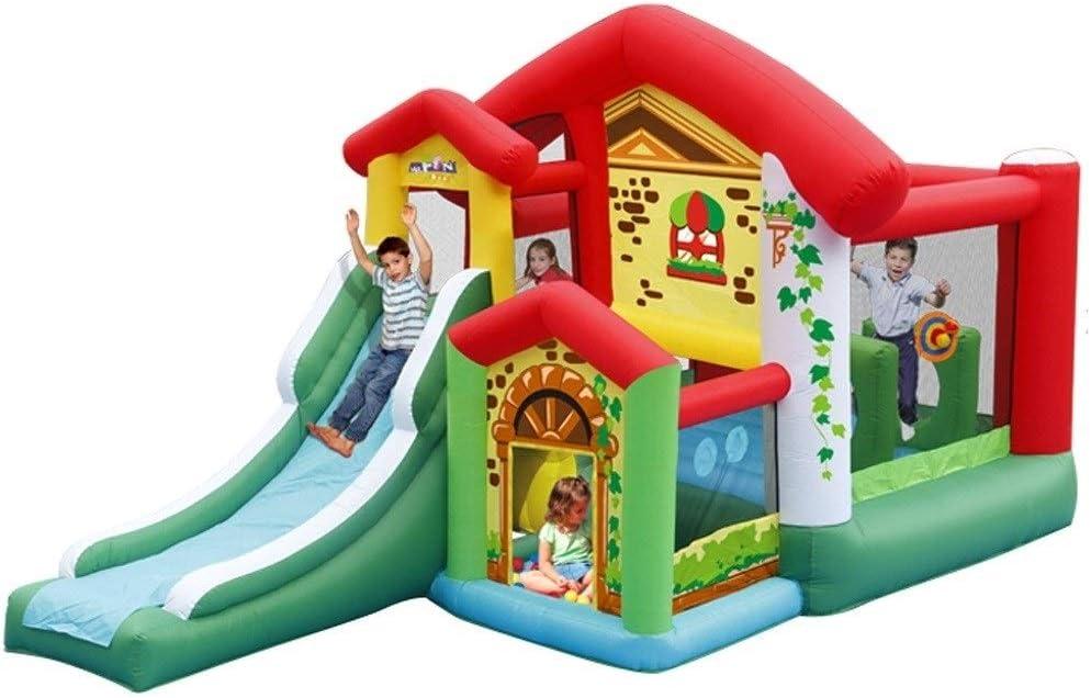 Castillos hinchables Inicio Castillo Inflable Cama Elástica Grande Al Aire Libre De Atracciones Cubierta For Niños Trampolín Inflable Pequeño Tobogán Inflable (Color : Green, Size : 475x260x260cm)