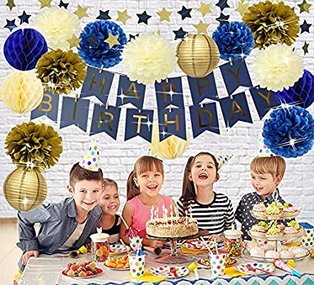 1st Birthday Boy Prince Party Supplies Navy Gold Birthday Party Decorations Blue Happy Birthday Banner Paper Star Garland Paper Flowers Tissue Paper Pom Poms Paper Lanterns for Boy First 1st Birthday Wcaro