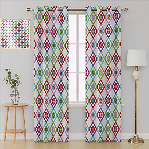 Floral grommit Curtain Blackout Curtains Panels for Bedroom,Abstract Squares with Flowers Spring Summer Blooms Nature Revival Patchwork Print Wall Curtain 108 by 96 Inch Multicolor ()