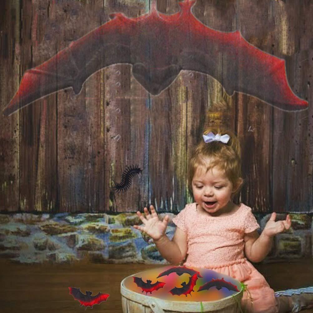 SUPVOX 4 d/écorations en Forme de Chauve-Souris Halloween Horreur vive Pendentif fantasmagorique Ornement Mural pour Cadeaux de f/ête dhalloween Noir-Rouge