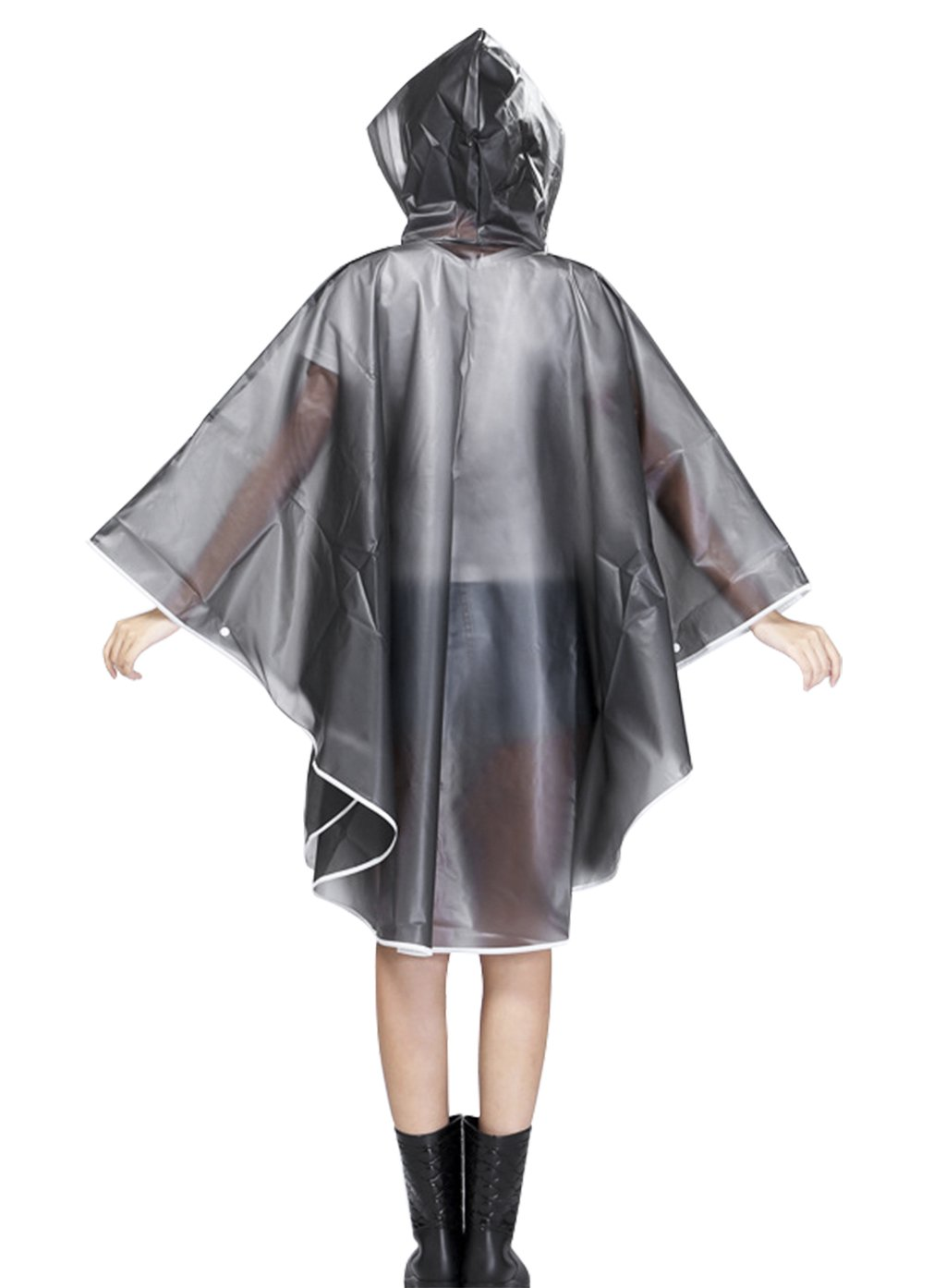 BAO CORE Abrigo de Lluvia Mujer Lluvia Poncho EVA Impermeable Lluvia Chaqueta Impermeable Poncho Lluvia Capa con Capucha y Mangas Outdoor Sport contra Lluvia Blanco y Negro
