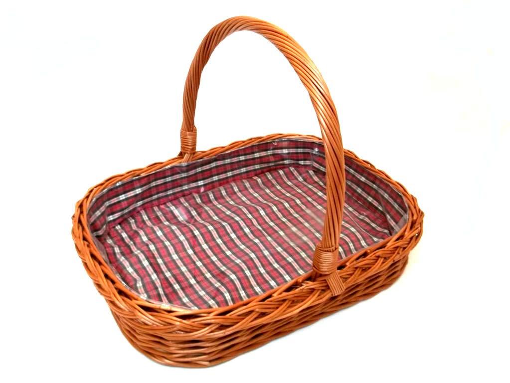 Tablett aus Weide und Holz mit Innenfutter und Bügelgriff